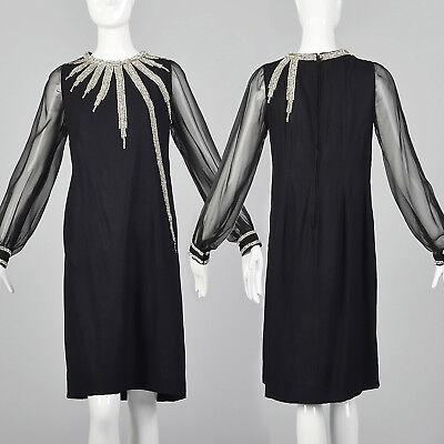 XS 1960s Rhinestone Party Dress Black VTG  Loose Sheer Sleeve Short New Years