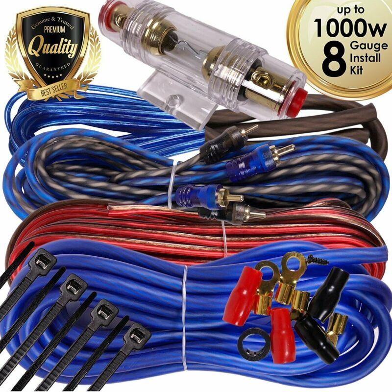Complete 1000W 8 Gauge Car Amplifier Installation Wiring Kit Amp PK3 8 Ga Blue
