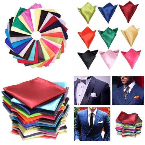 Mens Handkerchiefs 26 Solid Color Lot Set Handkerchief Hanky Silk Pocket Square