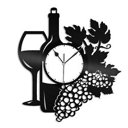 Wine Vinyl Wall Clock Unique Gift for Wines Lovers Home Room Decoration