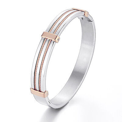 MENDINO Men's Women Stainless Steel Bracelet Double Cables Cuff Bangle Rose Gold