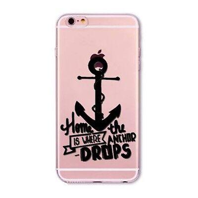 Kritzel iPhone 6 6s Schutz Hülle Handy Cover Case Tasche Anker schw Slim Bumper