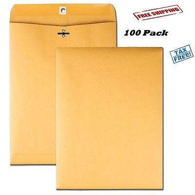 100 Business Envelopes 9x12 Kraft Clasp Yellow Brown Postal Manila Catalog Flaps