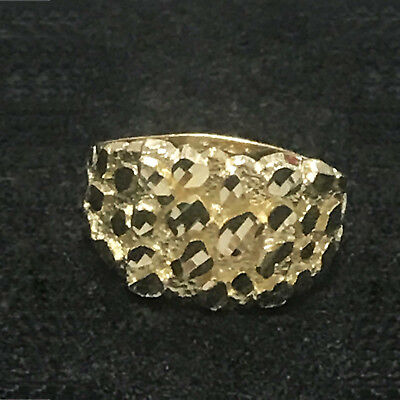 Mens Real 10K Yellow Gold Nugget Style Designer Fancy Pinky Ring