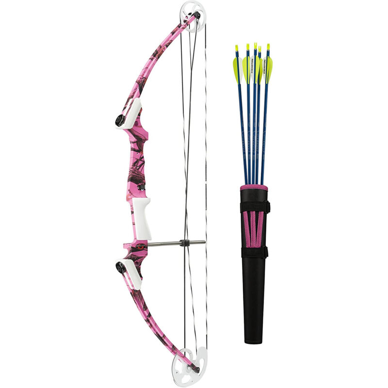 Genesis Archery 10933 Original Pink Camo Compound Training Bow Kit, Right Handed