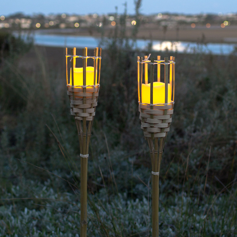 1-10 Torcia di bambù LED CANDELA GIARDINO Lume TIMER BATTERIA FIACCOLA Tiki
