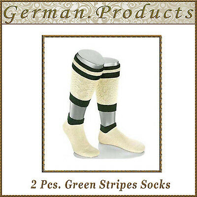 Lederhosen German Bavarian Oktoberfest Trachten 2 Pcs. Green Stripes Mens - Lederhosen Socks