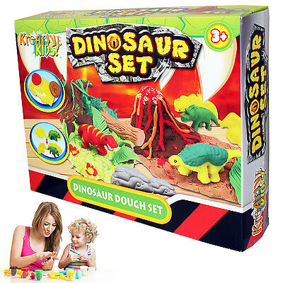 CHILDRENS KIDS DINOSAUR VOLCANO DOUGH MOULDING PLAY CRAFT SET MODELLING DOH TUBS
