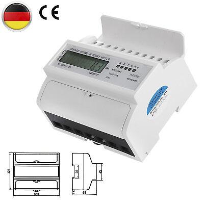 LCD Drehstromzähler geeicht für DIN Hutschiene +3x230V/400V 5 (100)A Stromzähler