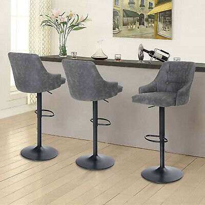 Adjustable Bar Stools Set of 3 Swivel Bar Stool Counter Height PU Leather Chair