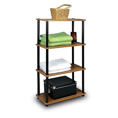 Storage Shelf 4 Shelves Cabinet Rack Room Book Display Organizer Furniture Wood