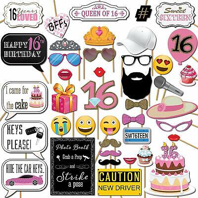 Photo Booth Sticks (Sweet 16 Birthday Photo Booth Props Party Kit 41 Pieces with Wooden Sticks)