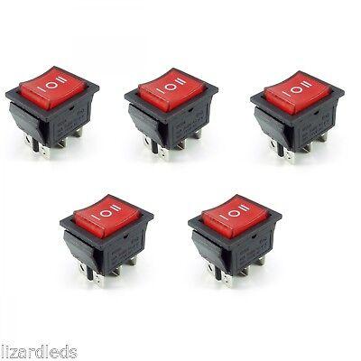 5x Dpdt 3-way Red Led Backlight Onoffon Rocker Car Switch Ac 250v 16a125v 20a