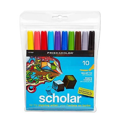 - Prismacolor Scholar Bullet Tip Water Based Art Markers, 10 Assorted Colors ~ NEW