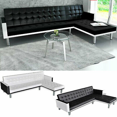L-shaped Chaise Lounge Leather Sectional Sofa Living Room Couch Bed Set 2 -