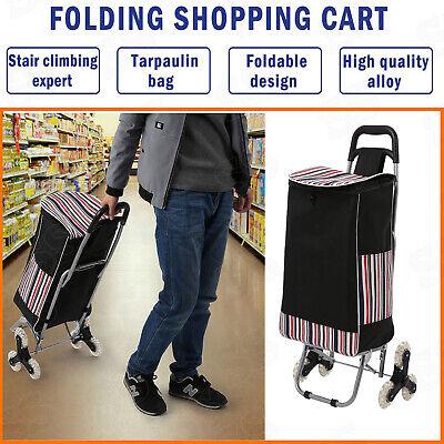 Folding Shopping Cart Portable Hand Basket Cart Climbing Trolly Grocery Laundry