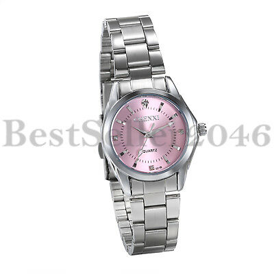 Women Ladies Pink Dial Dress Watches Waterproof Steel Band Analog Quartz Watch
