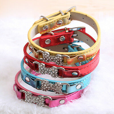 (Jeweled Dog Bone PU Faux Leather Collar Dog Cat Small XS S M Adjustable)