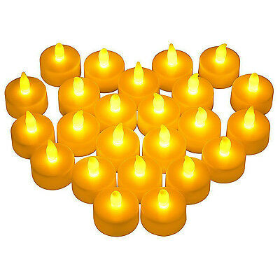LED Tea Lights 24 Pack Flameless Tealight Candles Bright Flickering Warm Yellow - Flickering Flameless Tea Lights