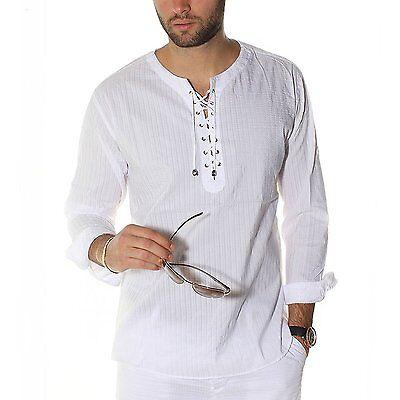 Mens Envy Lace Up Tunic Shirt WHITE Beach Top Linen M L XL 2X 3X 4XL NEW NWT HOT