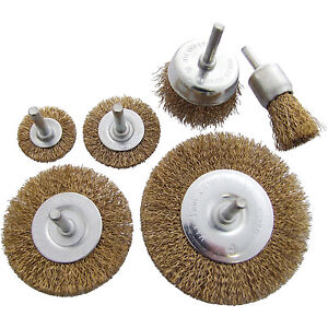 6pc Rotary Wire Wheel Set Brush 6mm Shank Power Drill Attachment Brass Bristles