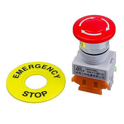 Red Mushroom Cap 1no 1nc Dpst Emergency Stop Push Button Switch Ac 660v 10a Lw