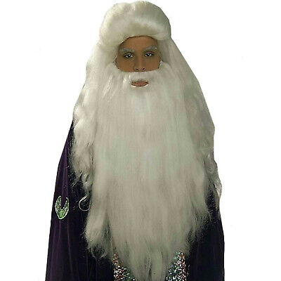 White Sorcerer Wig and Beard Set Merlin Wizard Father Time](White Wig And Beard)