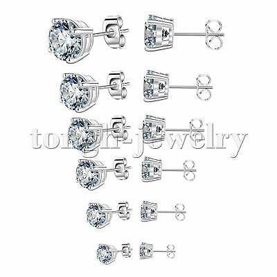 Women Men Silver Stainless Steel White Round Cubic Zirconia Stud Earrings Gift