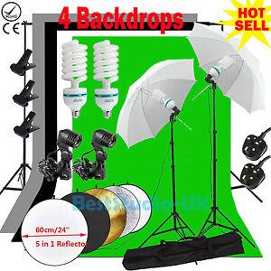 Photography Studio Backdrop Soft Umbrella Lighting Kit +Background Support Stand