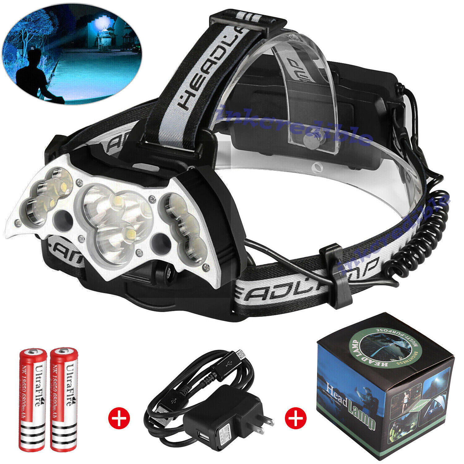 200000LM 11LED Headlamp USB Rechargeable 18650 Headlight Torch Lamp + Battery US Camping & Hiking