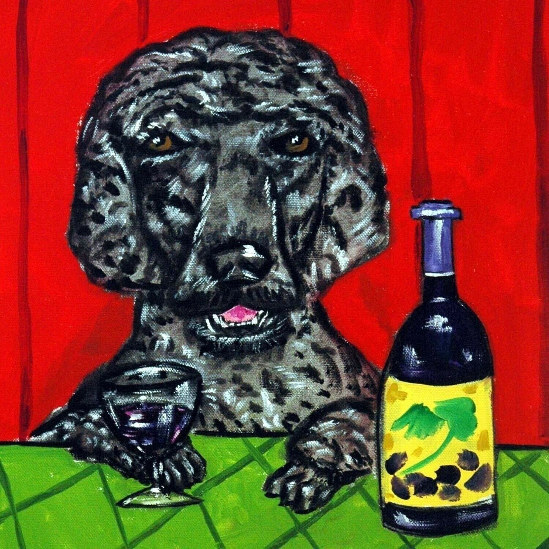 bouvier des flandres at the wine bar dog art tile coaster gift artwork modern