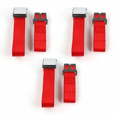 Chevy Impala 1961 - 1964 Airplane 2pt Red Lap Bench Seat Belt Kit - 3 Belts