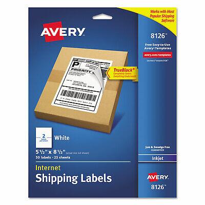 Avery Shipping Labels Wultrahold Trueblock Inkjet 5 12 X 8 12 White 50pack