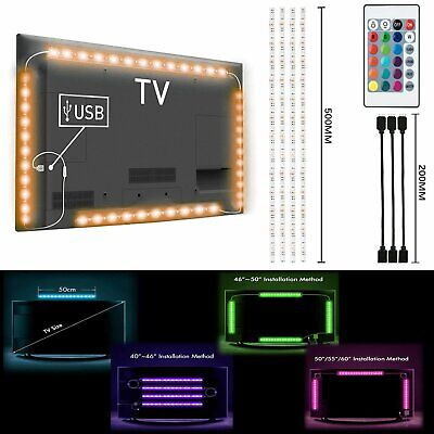 Tv Party Halloween (4Pcs USB Powered RGB 5050 LED Strip Lighting for TV Computer Background Light)