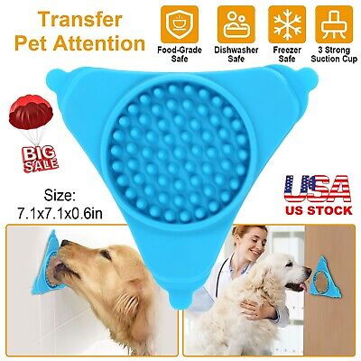 Dog Lick Pad Slow Feeder Dispensing Mat Bath Buddy Suction Silicone Pet Supplies Blue Pet Feeder