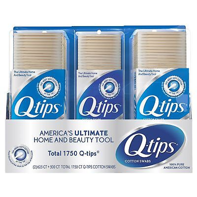 Q tips Cotton Swabs Club Pack 625 ct Pack of 2 & 1 500 pack total 1750