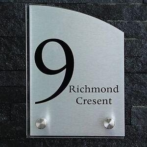 Personalised house office door number sign plaque glass effect acrylic aluminium ebay - Glass office door signs ...