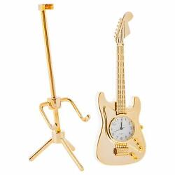 Electric Guitar On Tripod Stand Shaped Goldtone Decorative Table Top Clock