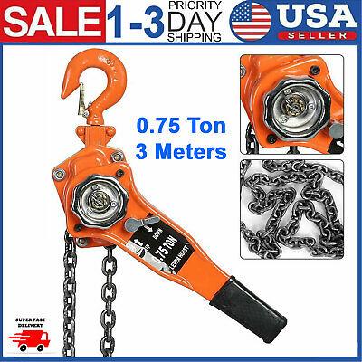 3 Meters Heavy Duty Chain Lever Hoist Come Along Ratchet Lift 0.75 Ton Capacity