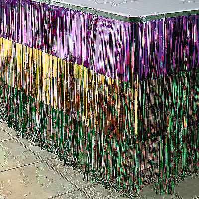 Mardi Gras Tri-Color Metallic Fringe Table Skirt Decorations Fat Tuesday - Table Fringe Skirt