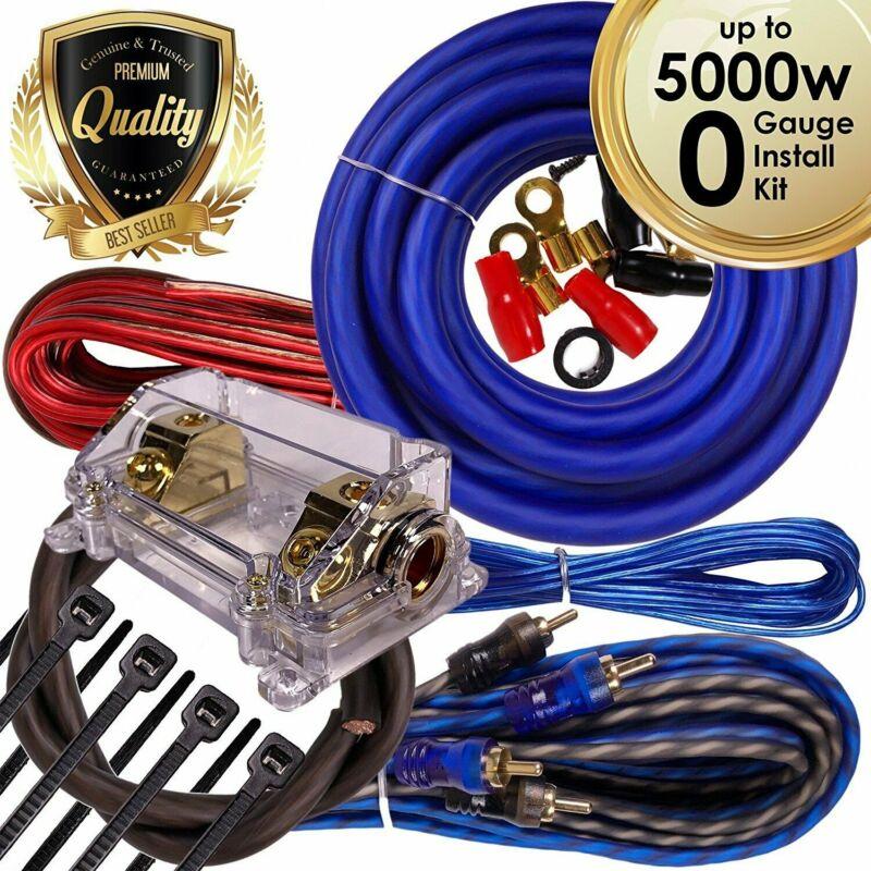 Complete 5000W 0 Gauge Car Amplifier Installation Wiring Kit Amp PK1 0 Ga Blue