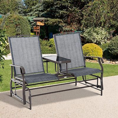 Outsunny 2 Seater Patio Glider Rocking Chair Metal Swing Bench Furniture (Steel 2 Seater)