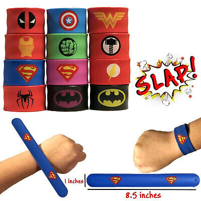 12 Superhero Slap Bracelets for Kids Boys & Girls Hero Birthday Party Favors USA (Girls Birthday Party Favors)