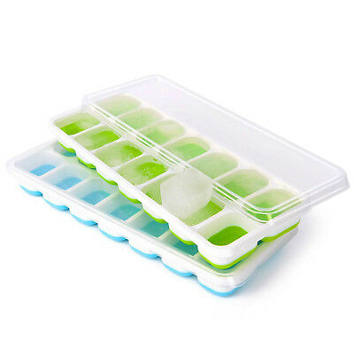 Ice Cube Tray 2 Pack Easy Pop Out Ice Cubes Flexible Silicone Bottom with Lids