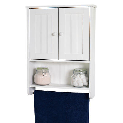 White Wall Mounted Storage Cabinet Organizer with Towel Bar