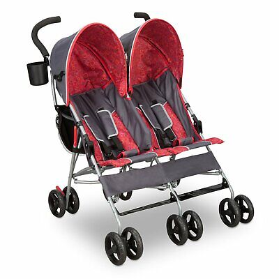 Double Baby Stroller Twin Umbrella Folding Pushchair Infant Safety Travel Red