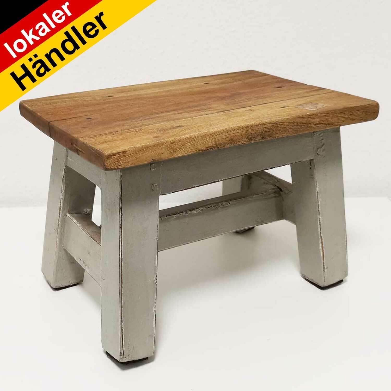 Vintage-Style Fusshocker Treibholz Tritt Hocker Holz Fußbank Shabby Schemel