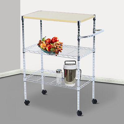 "HomCom 24""L Portable Rolling Wire Shelf Kitchen Storage Utility Trolley Cart"