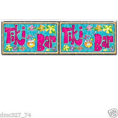 LUAU Tropical Beach Hawaiian Party Decoration Metallic FRINGE BANNER TIKI - Metallic Fringe Banner