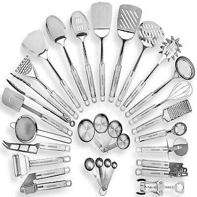 Premium 29pc Stainless Steel Kitchen Cooking Utensil Set Non-Stick Silicone